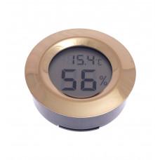 Термо-Гигрометр цифровой круглый, золото