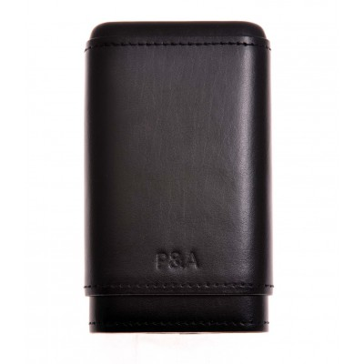 Бокс сигарный P&A  на 3-4 сигары Робусто-Черчилль Black кожа+кедр