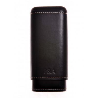 Бокс сигарный P&A  на 2-3 сигары Робусто-Черчилль Black кожа+кедр